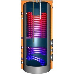 JDWS 1000 Hochleistungswärmepumpenspeicher mit 2 Doppelwendel-Wärmetauscher